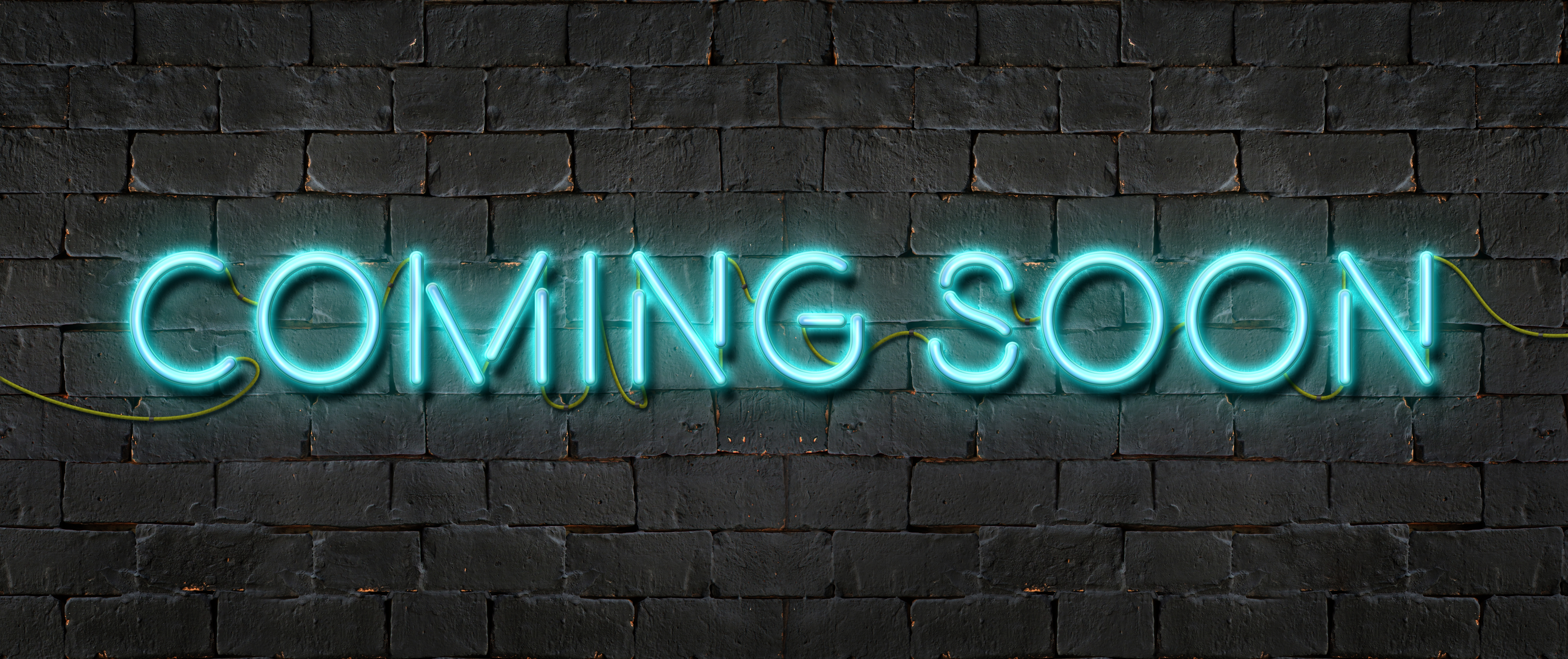 Coming Soon Neon Sign Shining On Black Brick Wall Agc Of America Centennial